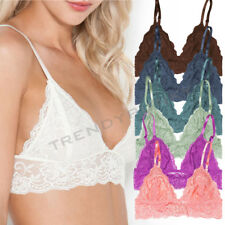 FLORAL LACE TRIANGLE BRA BRALET UNPADDED LINED WOMEN'S TOP MESH BRALETTE 0013