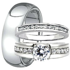 His Hers Mens TUNGSTEN Carbide 8MM Band & Womens Engagement Wedding CZ Ring Set