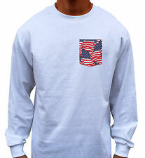 New Mens Custom Long Sleeve Tee T Shirt w/ American Flag Pocket Winter Obey Cool