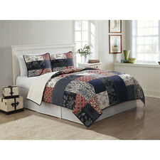 BEAUTIFUL  BLUE RED WHITE SOFT COUNTRY CABIN PLAID COTTON  QUILT SET ALL SIZES