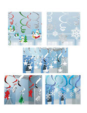 CHRISTMAS SWIRL HANGING DECORATIONS. Snowflakes, Santa, Penguins, Stars etc