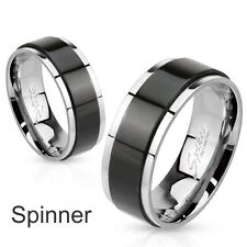 Personalized  Stainless Steel Two Tone Black IP Spinner Ring - Free Engraving