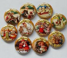 """Victorian Christmas Gold II Flatback - Pin Back Buttons 1"""" for Bows Crafts"""