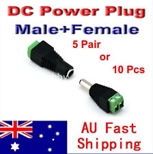 5 Pair/10 Pcs Male/Female DC Power Jack Plug 5.5mm x 2.1mm Connector Adapter