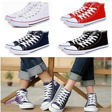Stylish Unisex Classic High Top Canvas Shoes Flat Sneakers Lace Up Casual Shoes