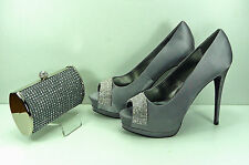 Shoes Matching Bag Grey Satin Diamante Arched Peep Toe High Grey Sparkly Bag