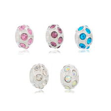 Wholesale Lots Mixed Silver Plated Rhinestone Beads Fit Charm Bracelet 11x6mm