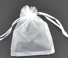 Wholesale Lots White Drawable Organza Wedding Gift Bags &Pouches 9x7cm