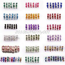 Wholesale 100pcs Rondelle Crystal Rhinestone 6mm Silver Plated Spacer Beads