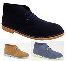 Mens Womens Suede Leather Desert Boots Lace Fashion Ankle Smart Sand Blue Navy