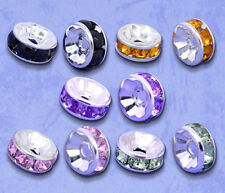 Wholesale Lots Mixed Silver Plated Rhinestone Rondelle Spacers Beads 8x4mm