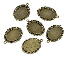Wholesale Lots Bronze Tone Oval Cameo Frame Setting Pendants  39x29mm