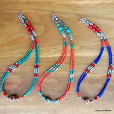 NL111 Nepalese Handmade Tibetan Ethnic Tribal Turquoise Coral Jewellery Necklace