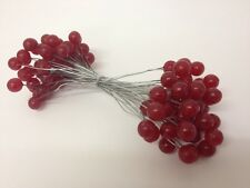 RED ARTIFICIAL HOLLY BERRY PLASTIC X 50 WIRES WREATH MAKING XMAS ASS QUANTITIES