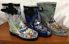 NEW Graffiti Rubber Rain Boots BLUE/WHITE/GRAY/Sizes 1-10 YOUTH UNISEX