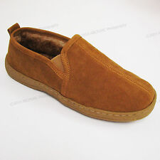 Men's Suede Leather Soft Fur Shearling Close Back Slippers Tan Shoes Sizes:7-13