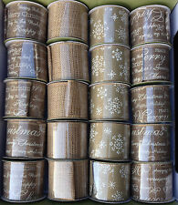 Natural Hessian Christmas finishing ribbon 6cm wide vintage shabby chic luxury