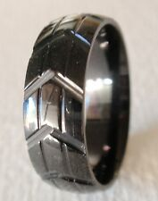 MENS BLACKLINE STAINLESS STEEL TIRE TREAD DESIGN 8mm RING 016 - choose your size