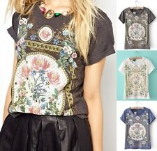 Retro Floral Printed Short Sleeves Cotton Summer Women T-shirt Pullover Top New