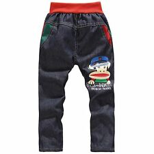 Kids Boys Girls Children Denim Monkey Bear Jeans Pants Bottoms Trousers