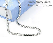 "18""-40""Mens womens Stainless Steel Necklaces Curb Chain 3mm 4mm 5mm 6mm 7mm"