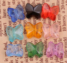 100pcs Mixed Color Clear Crystal Butterfly Spacer Beads 10x9mm