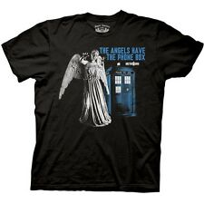 NEW Black Doctor Who T-Shirt ALL SIZES Angels Phone Box Blue Mens Dr TV Show Tee