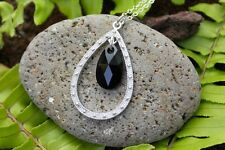 Jet Crystal & Silver Teardrop Chandelier Necklace w/ Black Swarovski Crystal