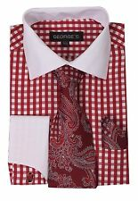 French cuff dress shirt with cuff links, paisley design tie&hanky Check Red A615