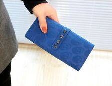 New Cool Womens Punk Skull Pattern Studded Long Purse Wallet Clutch Bag Handbag