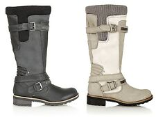 WOMENS LADIES LEATHER INSOLE FULL ZIP BUCKLE RIDING WINTER KNEE LENGTH BOOTS