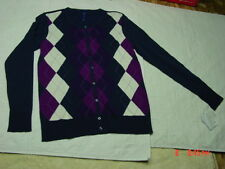 NWT Womens Classic Argyle Cardigan Blue Cream Burgandy Dark Pink Purple Sweater