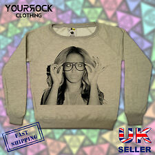 BEYONCE , GLASSES , FASHION DESIGNER LADIES WIDE NECK SWEATSHIRTS,