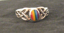 LGBT Sterling Silver Ring with Celtic Triquetra and Enamel Rainbow