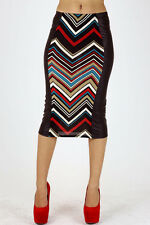 Red Black Teal Chevron Striped Pencil Skirt STRETCH Color Block Two Tone S M L