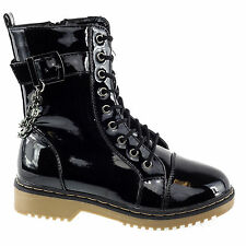 Alyson04 Black Patent Military Lace Up Combat Boots Chain Grunge Rubber Sole