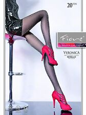 Fiore VERONICA Fashion Laurex Silver Metallic Pattern 20D Shiny Sheer Tights