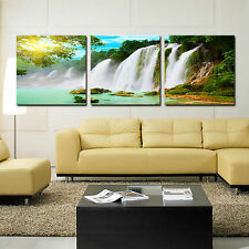 Waterfalls ready to hang triptych picture mounted canvas art/surpassed stretched
