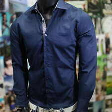 NEW MENS FITTED NAVY MUSCLE CLUB NICE Long Sleeve LUCKY Slim Fit DRESS SHIRT