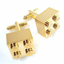 Metallic Gold LEGO Brick handmade Cufflinks wedding father day plated groom gift