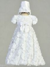 New Girls White Christening Baptism Gown Dress Ribbon & Tulle 0-18M / Daisy