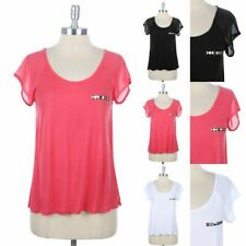MESH Short Sleeve Studded Chest Sheer Back Raglan Top Casual Easy Wear S M L