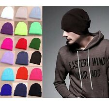 Solid Color Unisex Men Women Warm Cuff Plain Knit Ski Long Beanie Skull Cap Hat