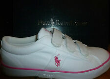 RALPH LAUREN WOMENS YOUTHS GILES EZ CANVAS TRAINERS SHOES WHITE/PINK NEW BOXED