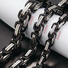 MEN 5MM 6MM 8MM Silver Black Tone Stainless Steel Byzantine Box Chain Necklace
