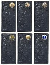 Customized Hand Tooled Poppy Design Leather Checkbook Wallet Choose your Concho