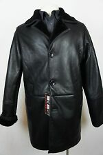 Men New 100% Genuine Real Shearling Leather Sheepskin Jacket Coat Trench S-5XL