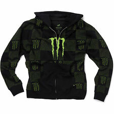One Industries Monster Energy Axis Zip Hoody Hooded Sweatshirt Black Green NEW