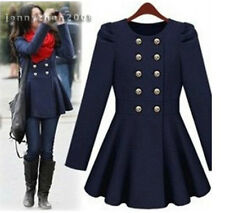 Double Breast Peplum Frill Puff Long Sleeve Fitted Flared Trim Trench Coat Cloak