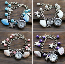 Lady Women Jewelry Beads Shell Chain Bracelet Cuff Quartz Wrist Watch Fashion